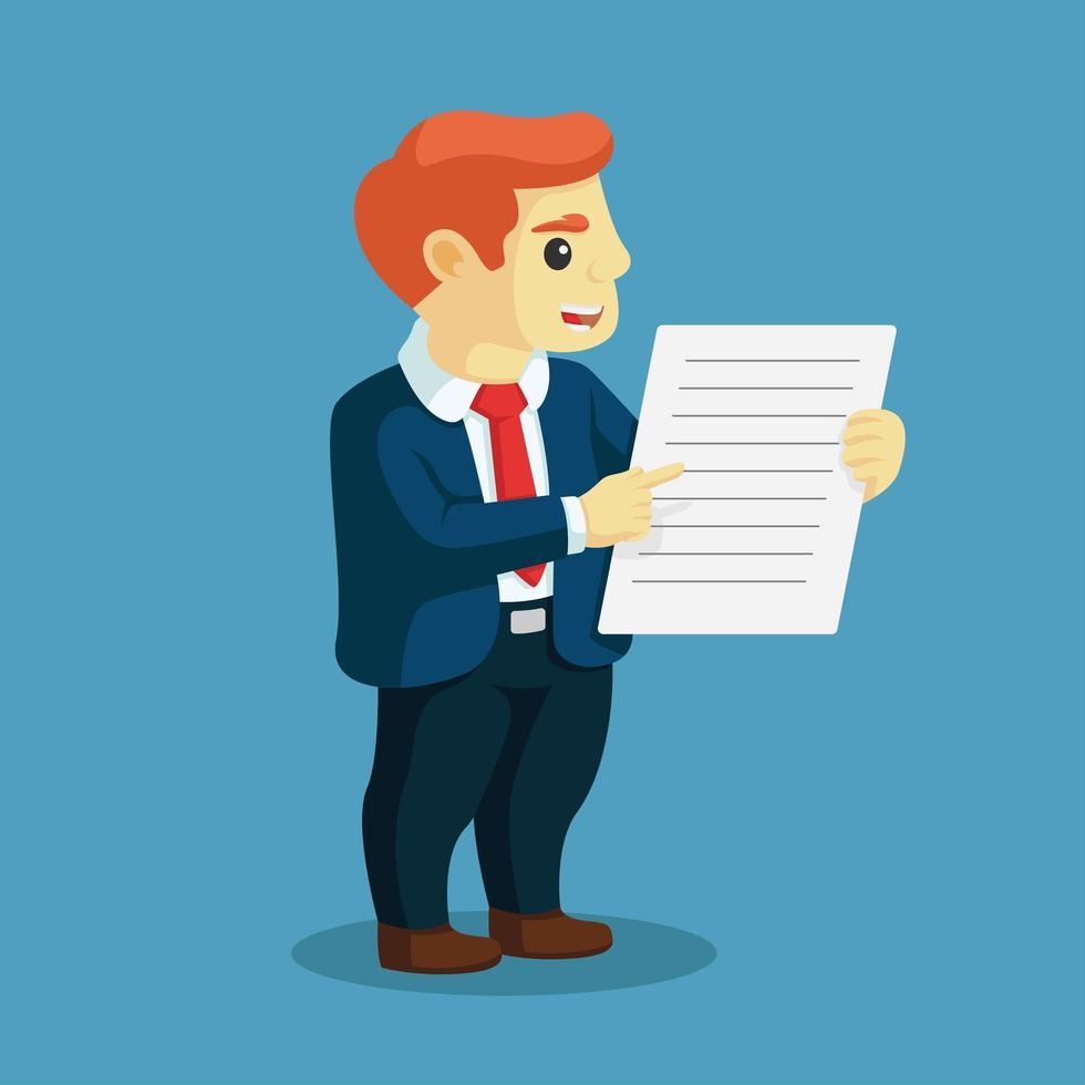hombre de negocios, señalar, dedo, para, documento vector
