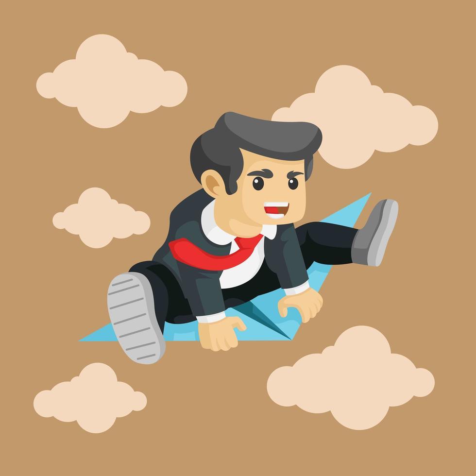 uomo d'affari in volo su un aeroplano di carta vettore