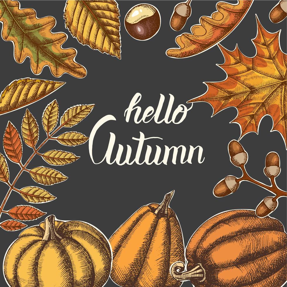 fondo de otoño con hojas dibujadas a mano y calabazas vector