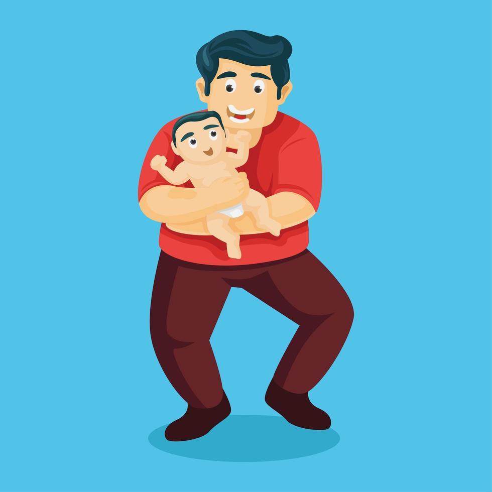 l'amour du père porte son fils avec amour vecteur