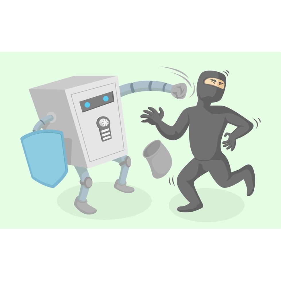 Personaje de caja de seguridad luchando contra ladrón vector
