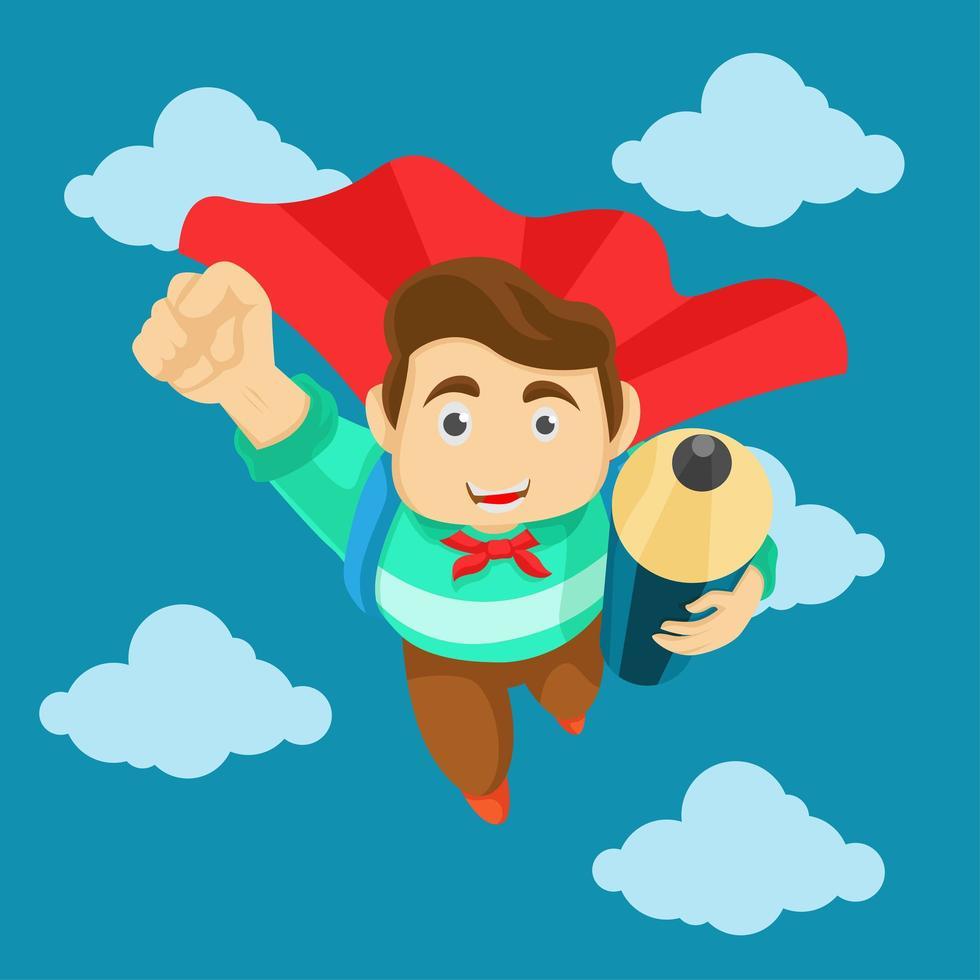 heureux étudiant volant dans le ciel avec un crayon vecteur