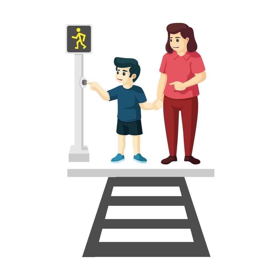 figlio e madre che usano una passeggiata trasversale vettore