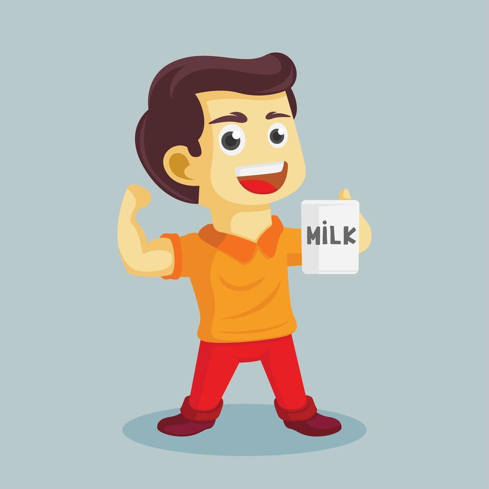 ragazzo forte con i muscoli che bevono latte vettore