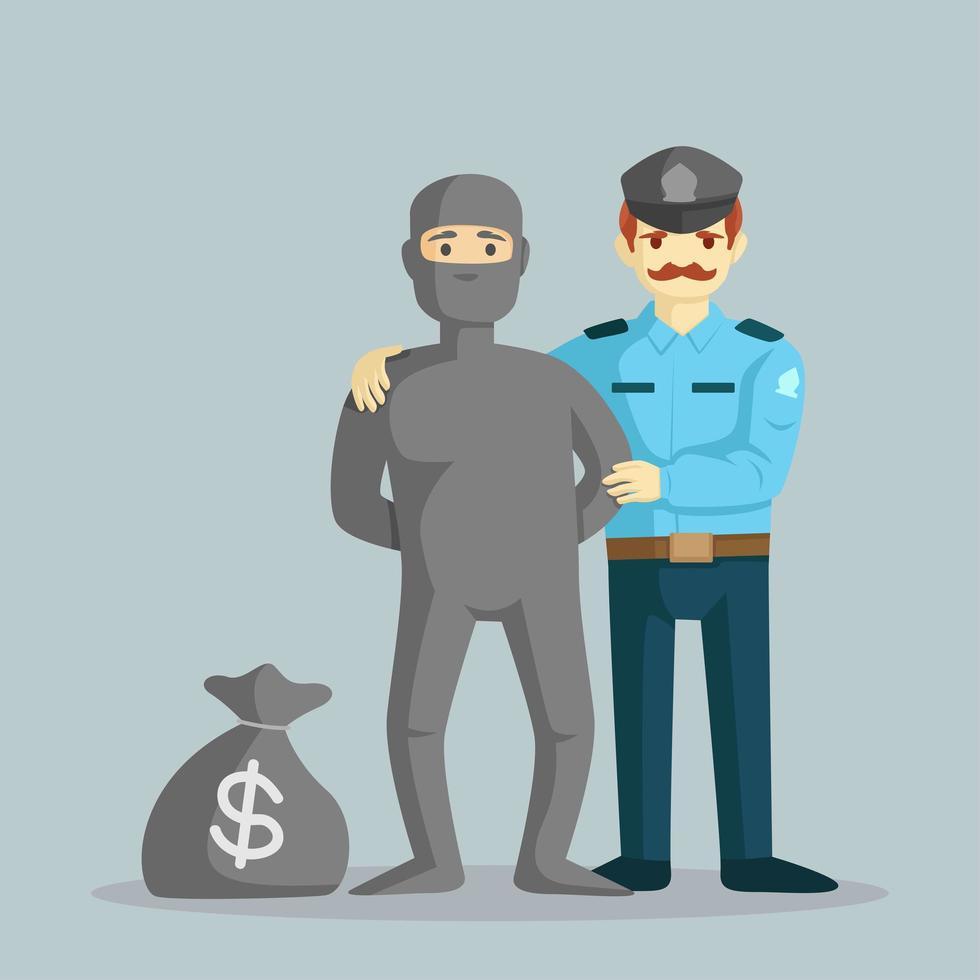 policier attrape un voleur avec un sac d'argent vecteur