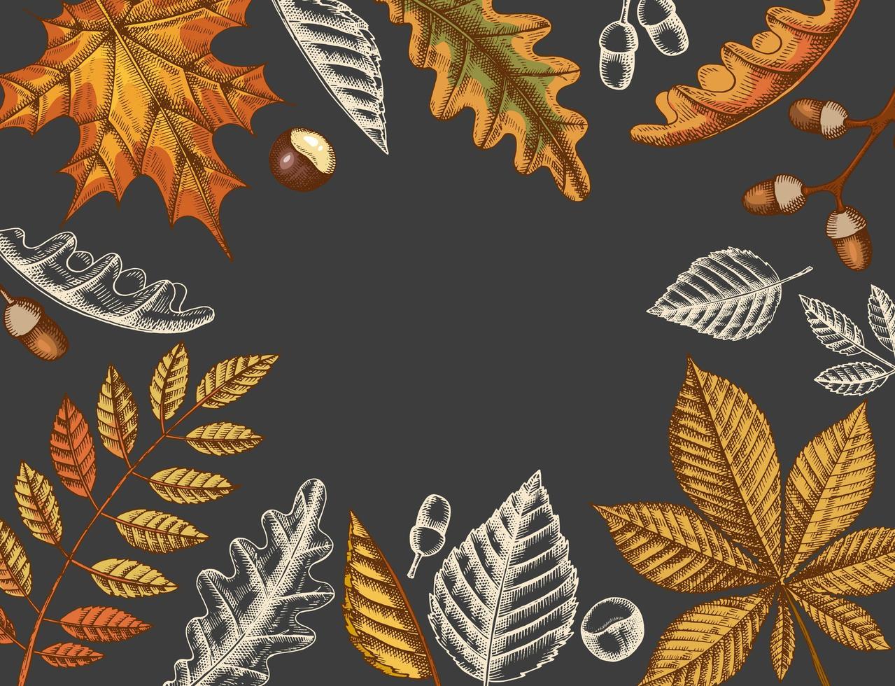 fondo de hojas de otoño vintage vector