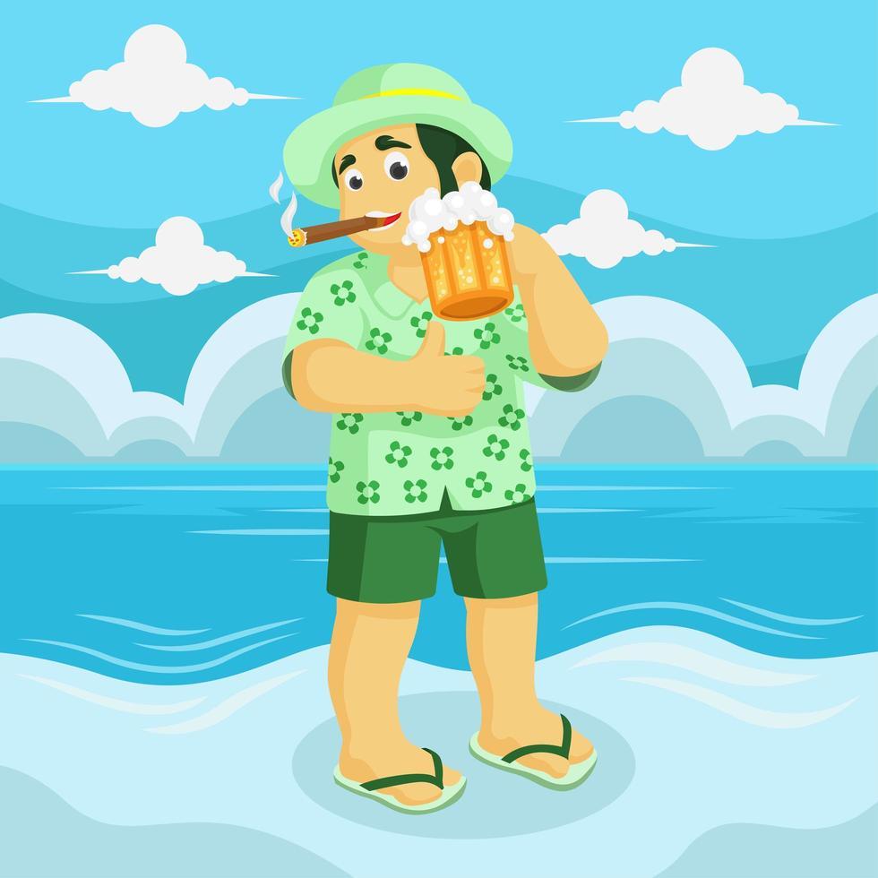 homem com charuto e cerveja na mão na praia vetor