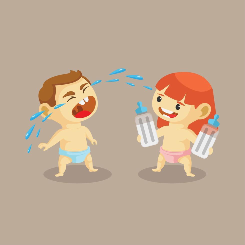niña bebé tomando el biberón de llorar niño bebé vector