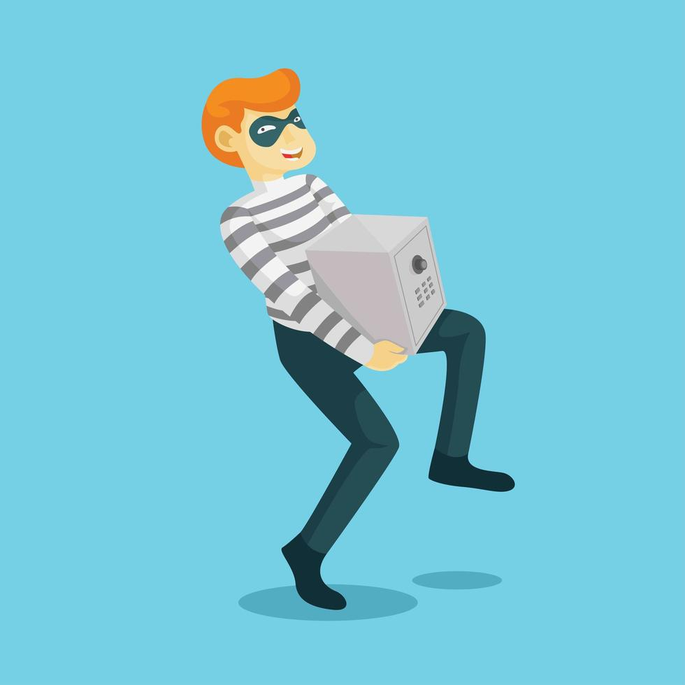 Un voleur vole un coffre-fort vecteur