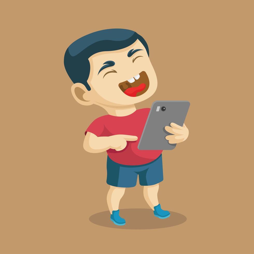 garçon riant bruyamment à une chose drôle sur tablette vecteur
