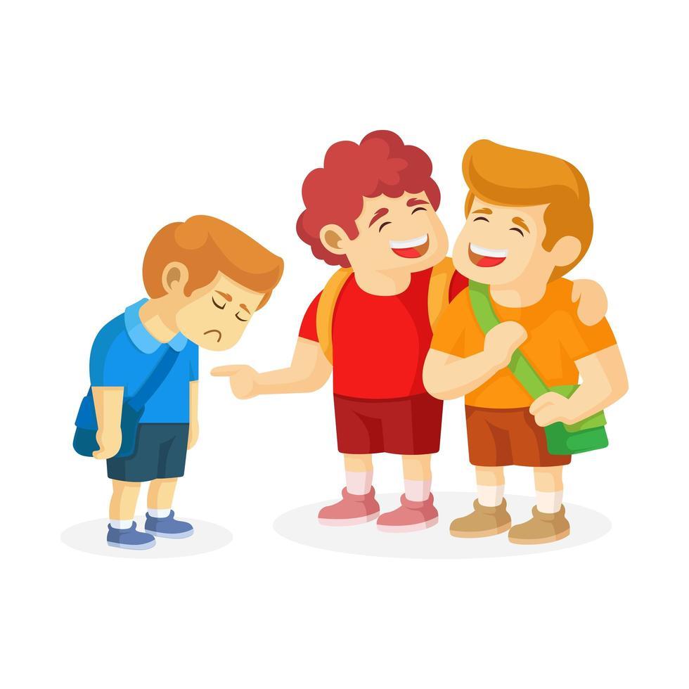 un niño está triste porque dos niños lo acosan vector