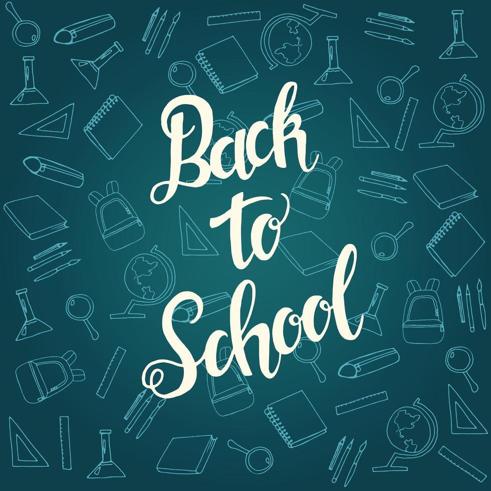 Banner de caligrafía de regreso a la escuela con patrón de icono de escuela vector