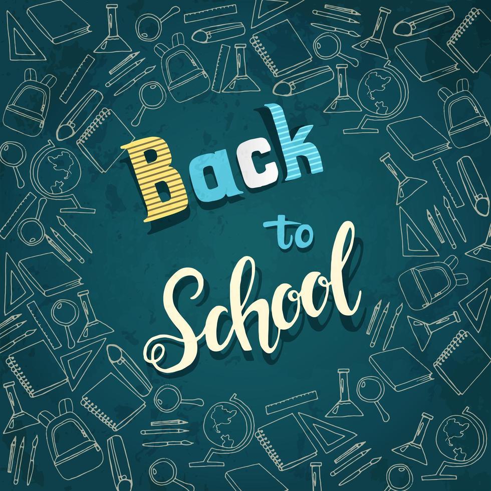 retour à la bannière de lettrage école avec des icônes de l & # 39; école vecteur