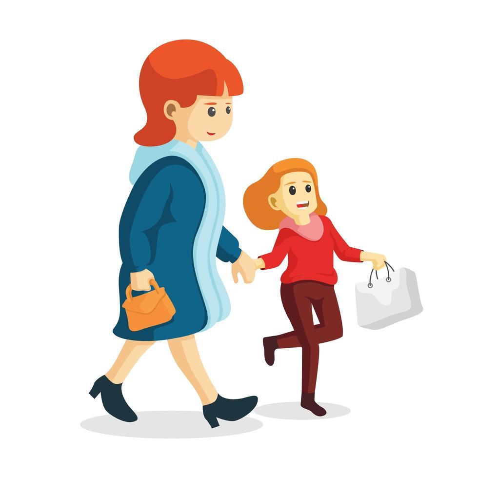 souriant mère et fille faire du shopping ensemble vecteur