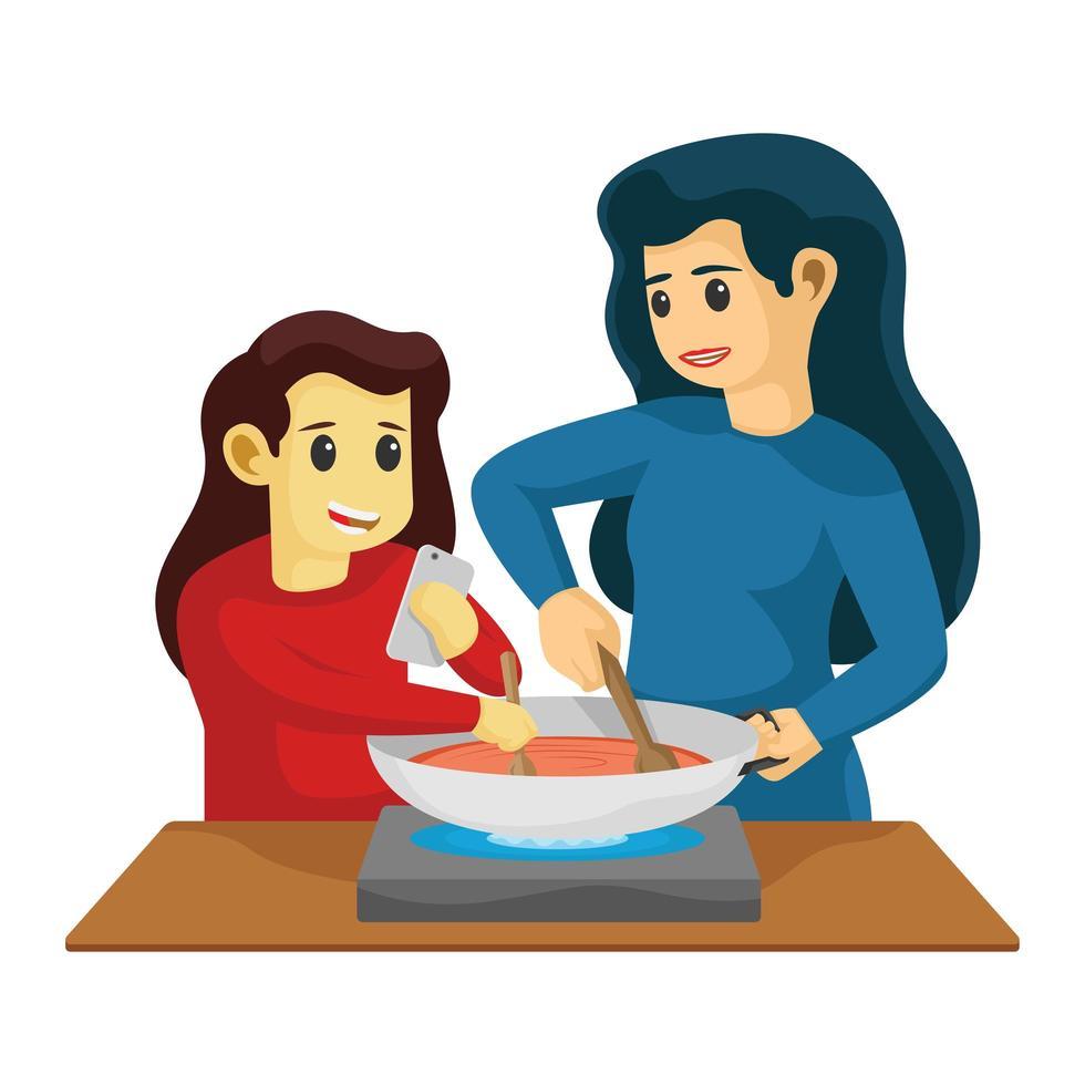 mamá e hija cocinando juntos en la cocina vector