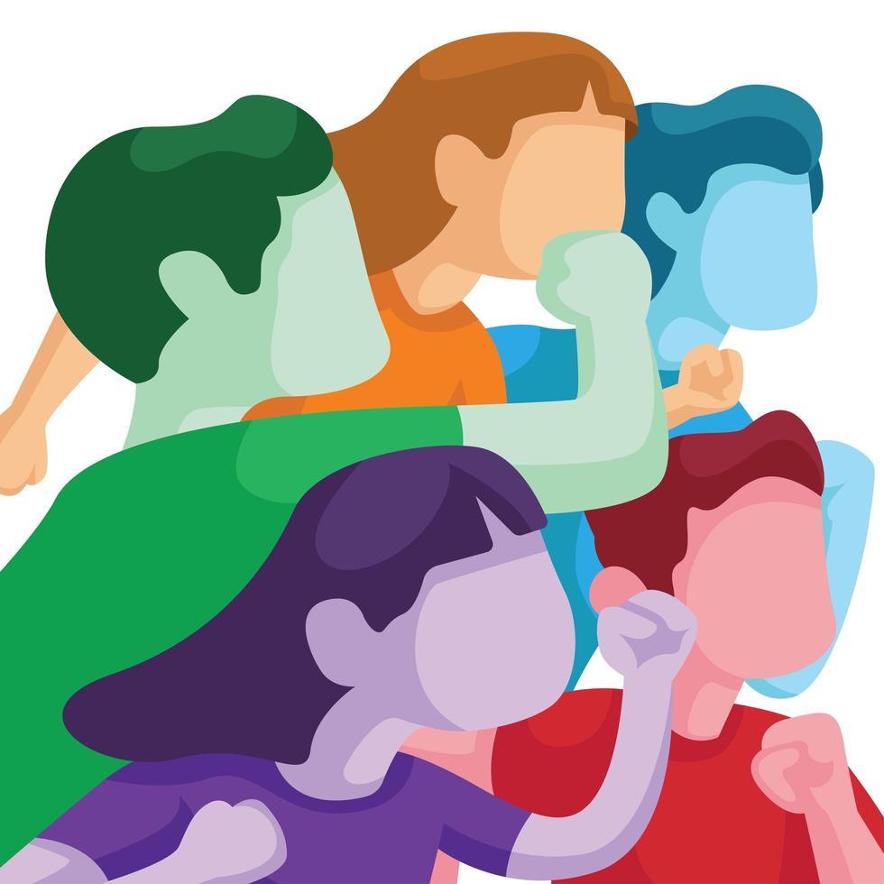 persone colorate entusiaste di alzare la voce vettore