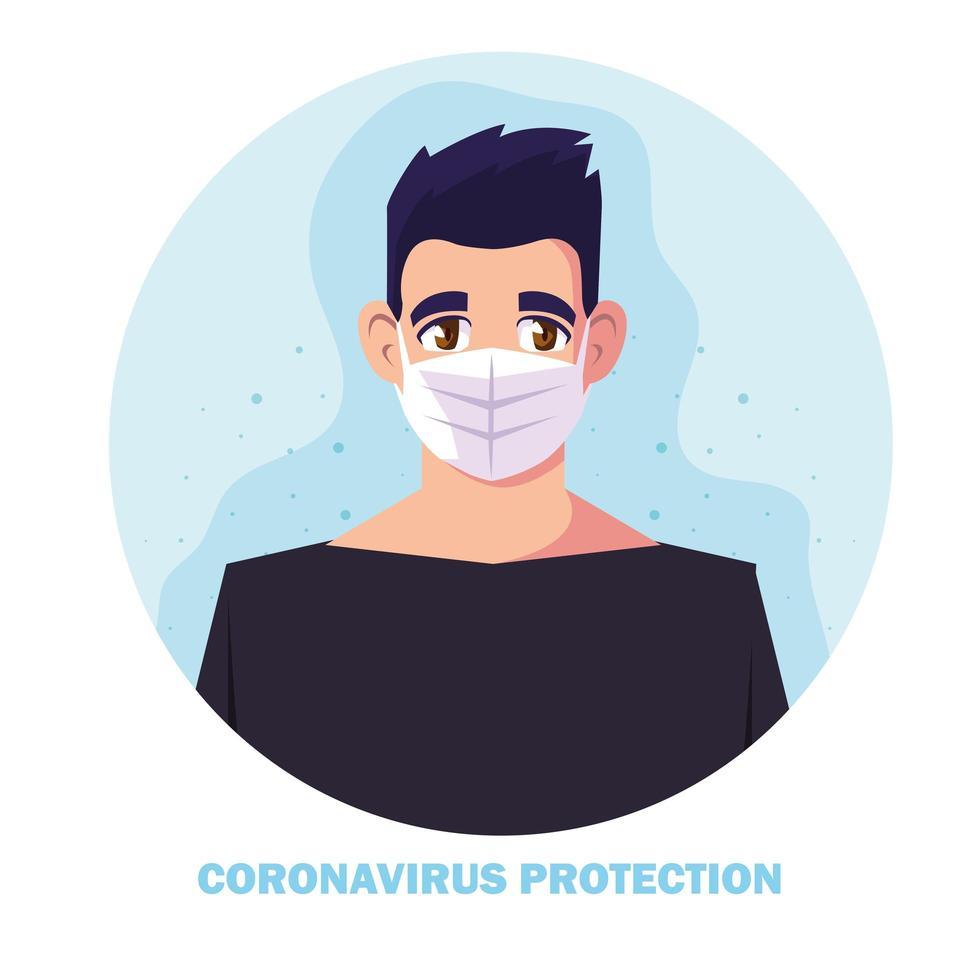 Hombre con mascarilla quirúrgica para protección contra coronavirus. vector