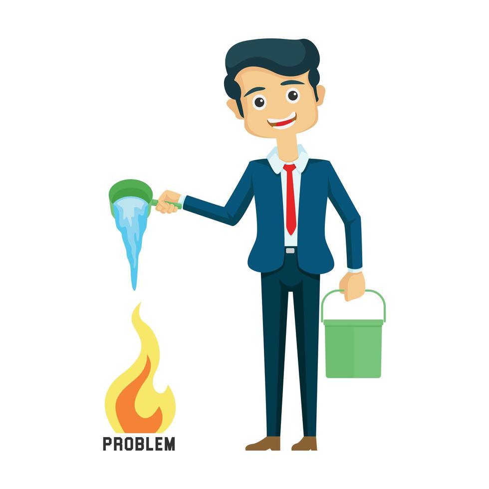 uomo d'affari irrigazione problema incendio vettore