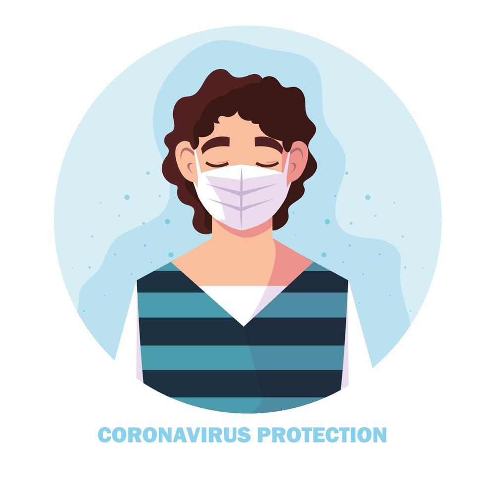 homme avec masque chirurgical, protection contre le coronavirus vecteur