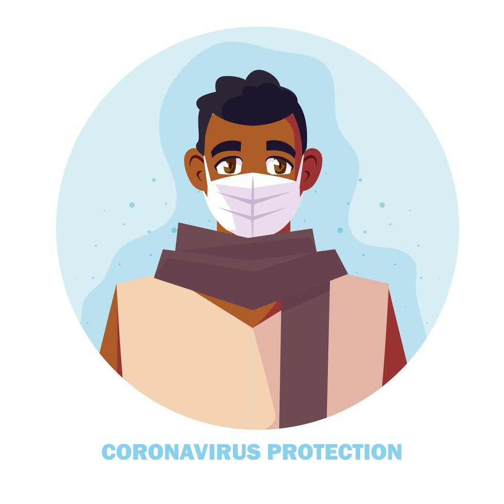 homme utilisant un masque médical, protection contre le coronavirus vecteur
