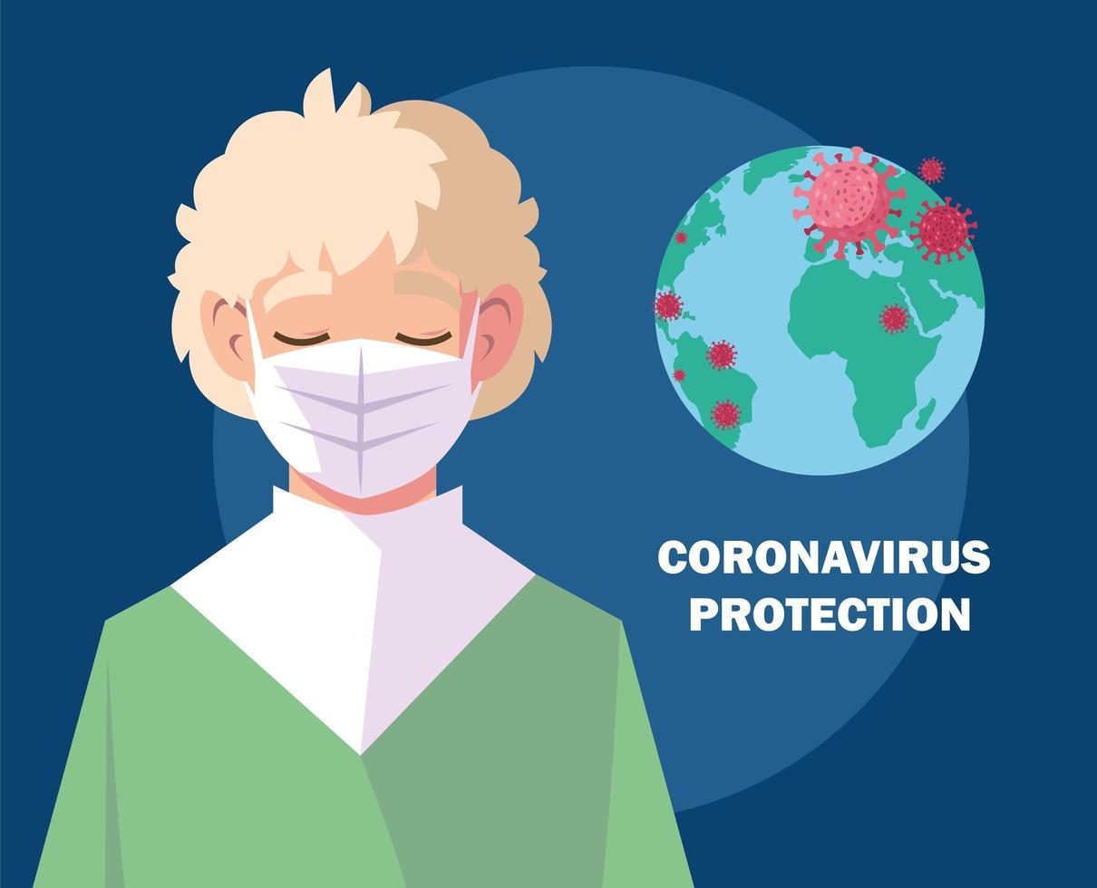 joven con máscara médica, protección contra coronavirus vector