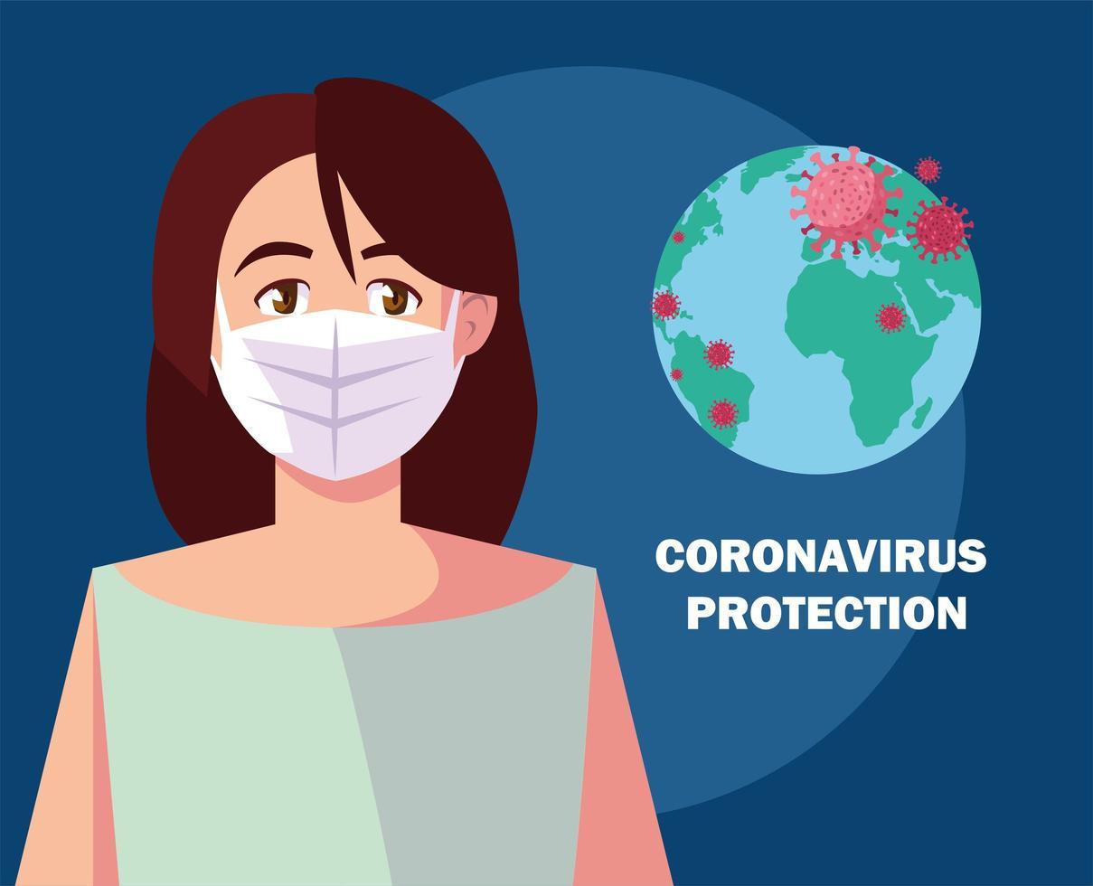 donna con mascherina chirurgica, protezione contro il coronavirus vettore