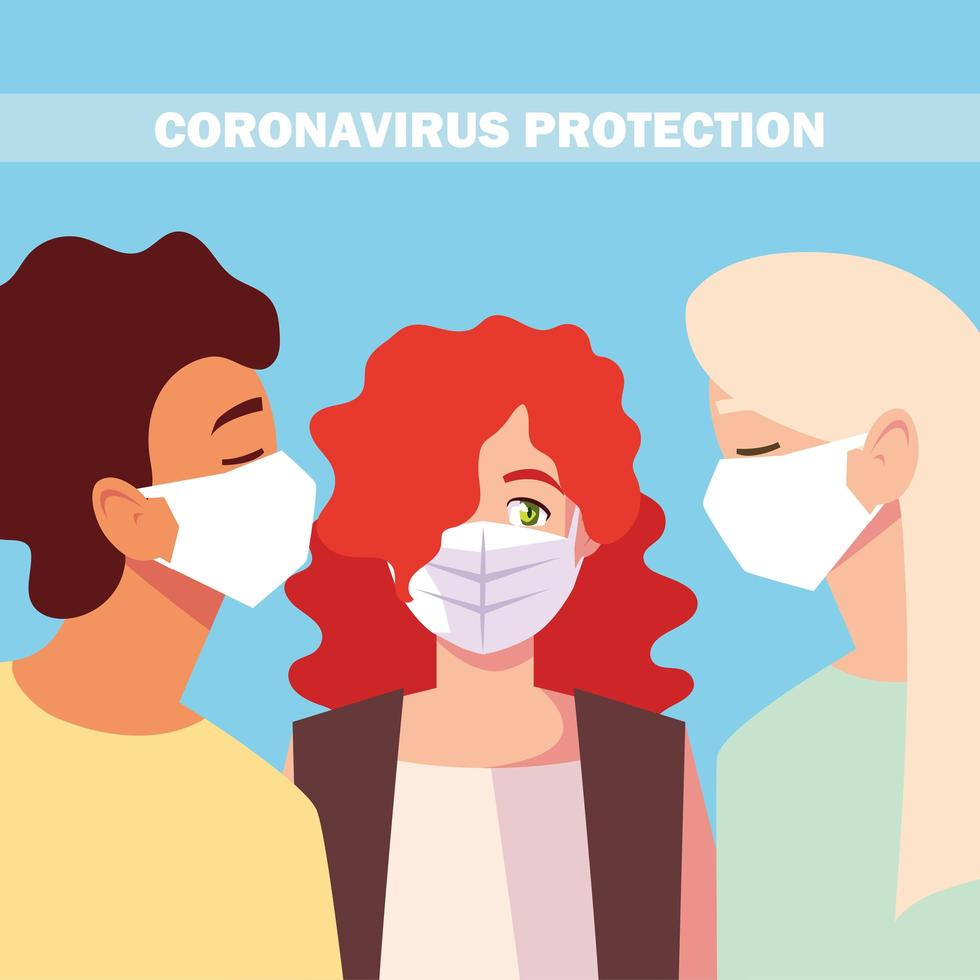 persone con maschera facciale medica, prevenzione del coronavirus vettore