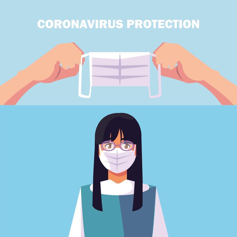 mujer joven con mascarilla quirúrgica y protección contra coronavirus vector
