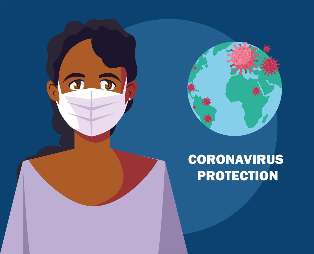 donna che utilizza mascherina chirurgica per la protezione da virus vettore