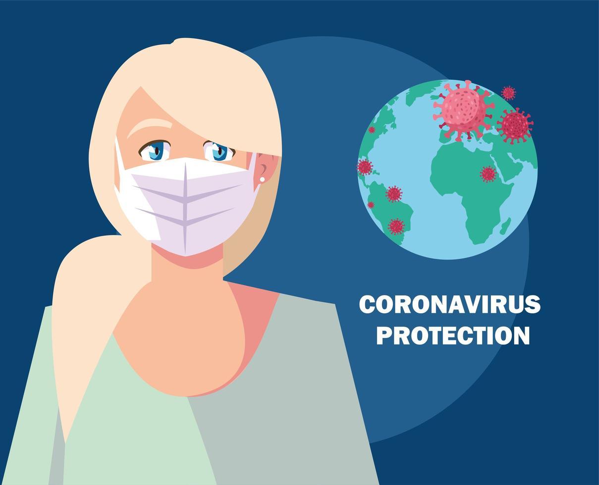 concetto di protezione del coronavirus con donna mascherata vettore