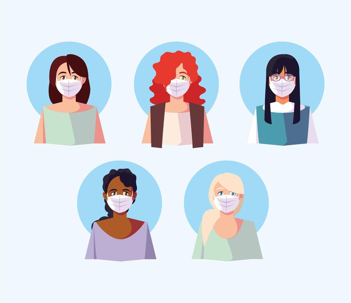 ensemble de personnes dans des masques médicaux pour la prévention des virus vecteur