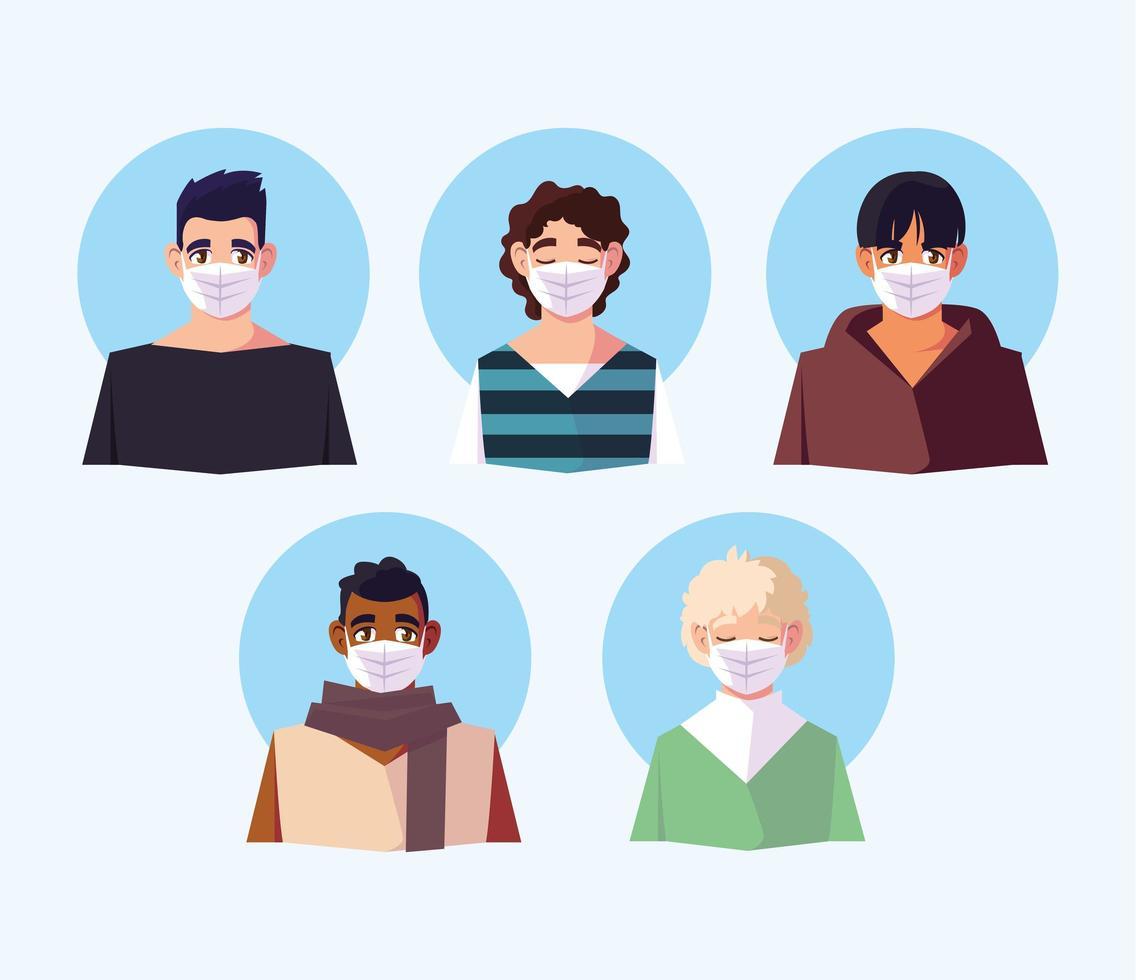 personas de diferentes nacionalidades con mascarillas vector
