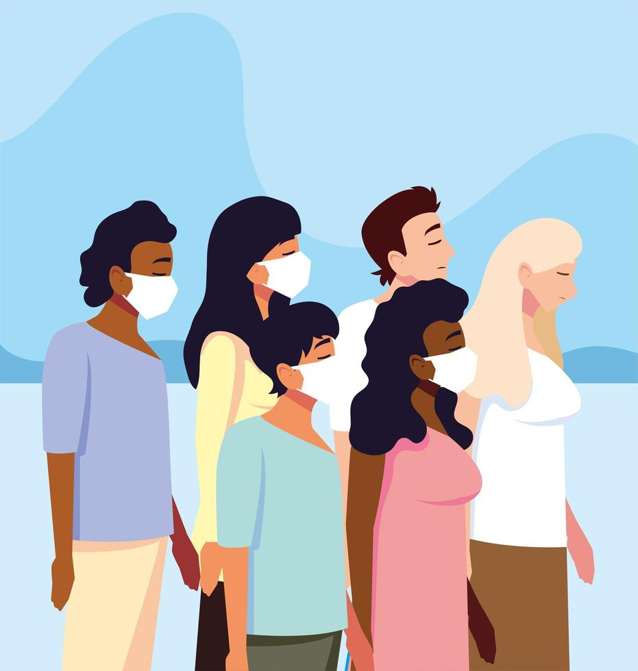 Group of people with medical face mask vector