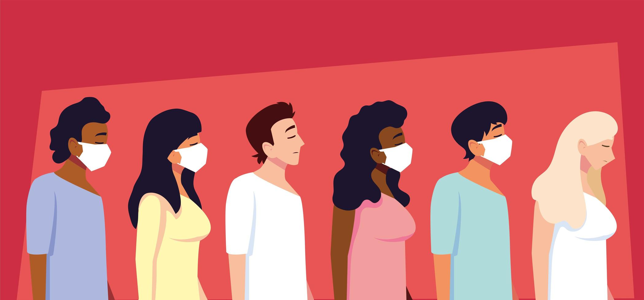 Group of people using medical face mask vector