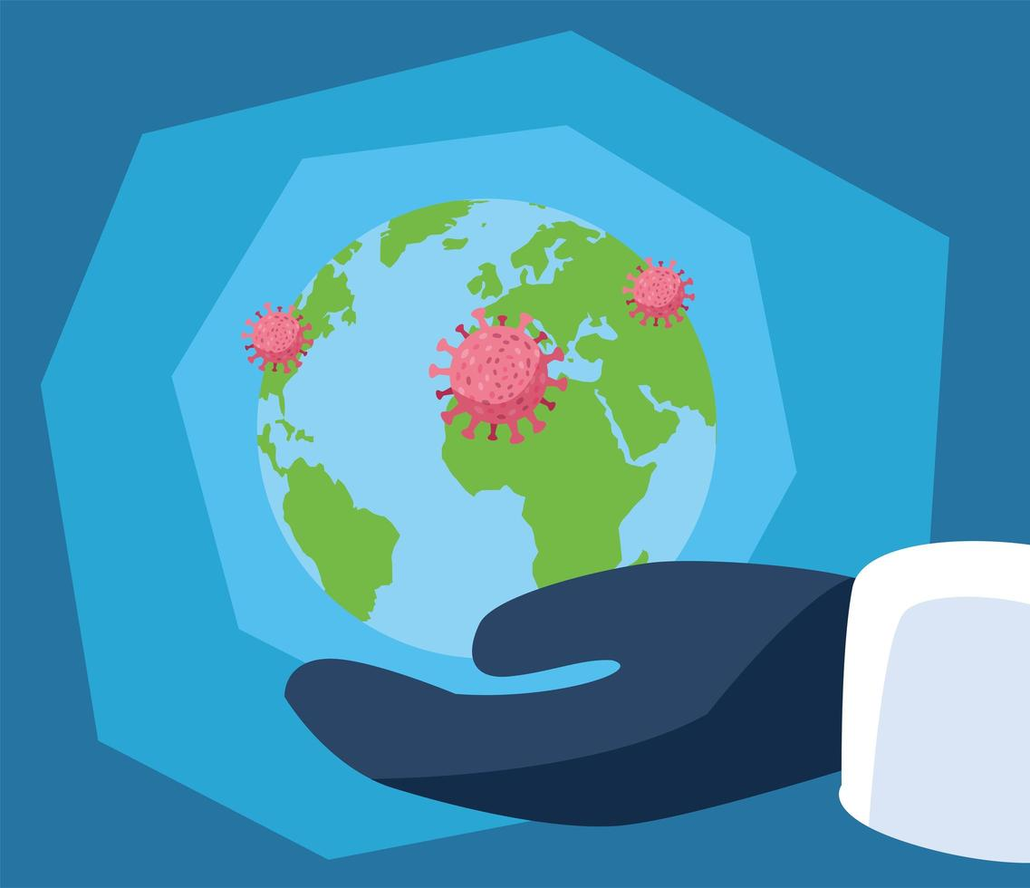 salva il pianeta terra dal coronavirus vettore