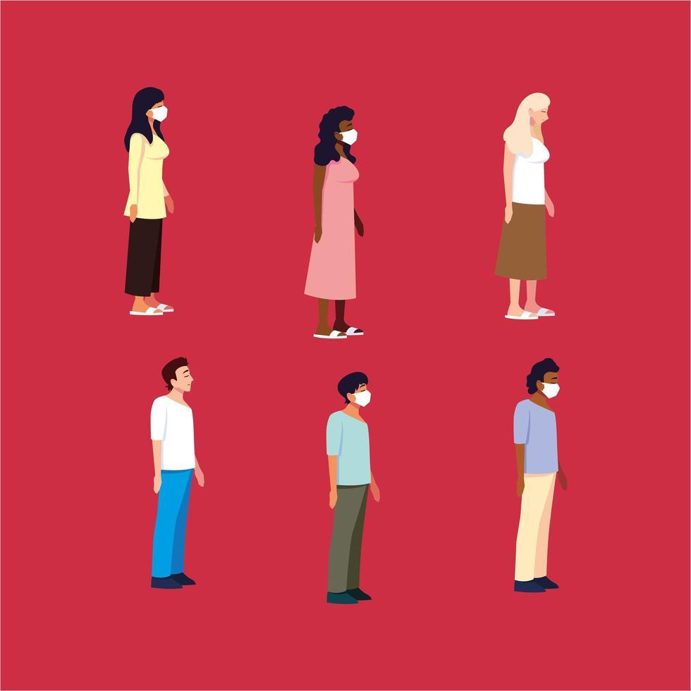 grupo de personas de diferentes nacionalidades usando mascarilla vector