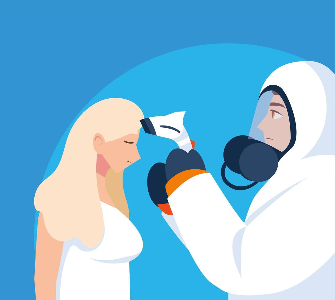 Profesional médico en ropa protectora diagnostica a una mujer vector