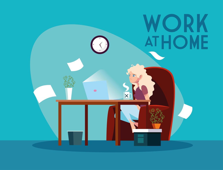 freelancer feminina trabalhando remotamente de sua casa vetor