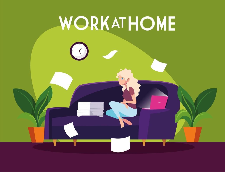 libero professionista femminile che lavora a distanza da casa vettore