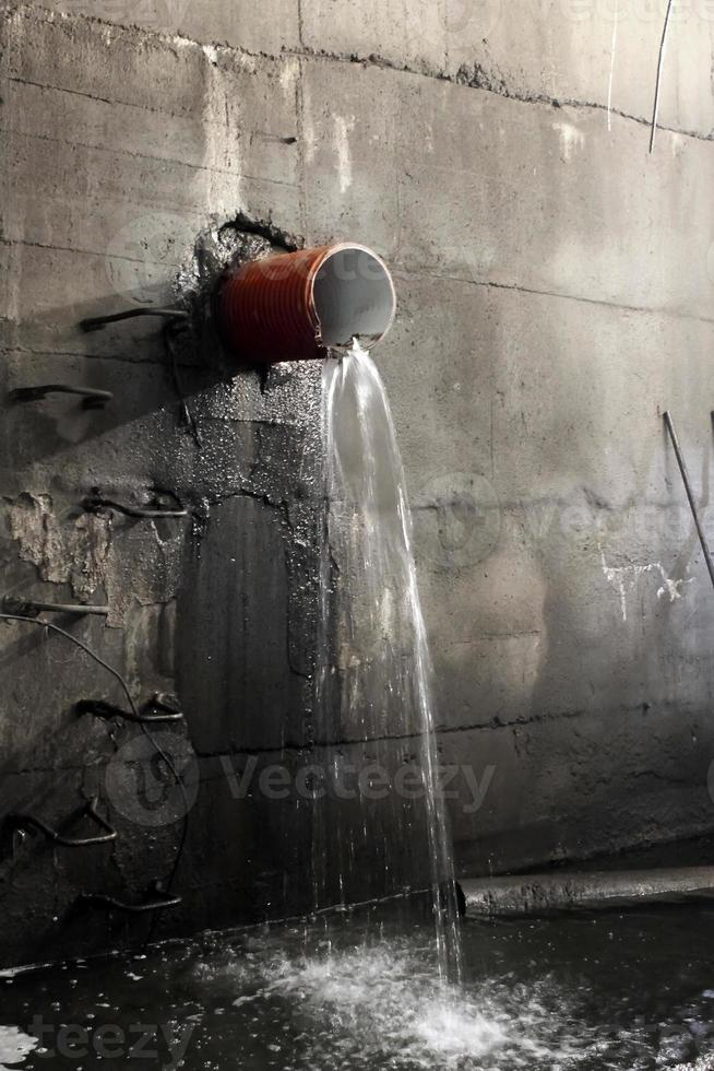 Water pipe break in a sanitary collector photo