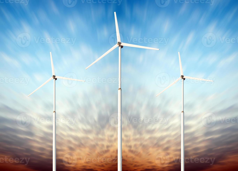 Green renewable energy concept - wind generator turbines in sky photo