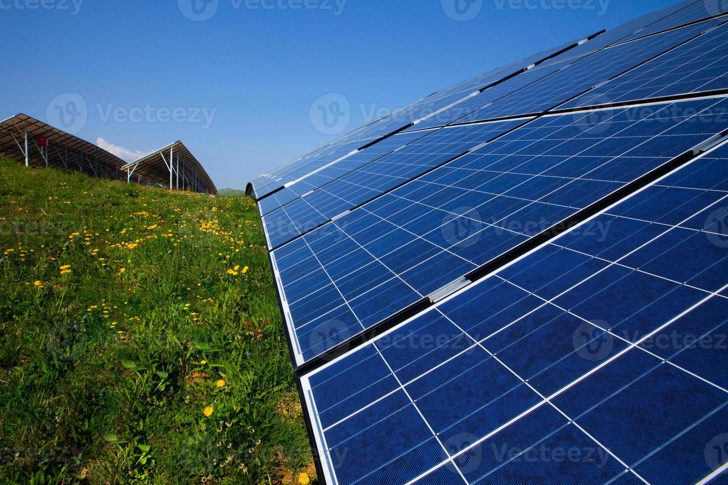 Solar panels, blue sky and green grass photo