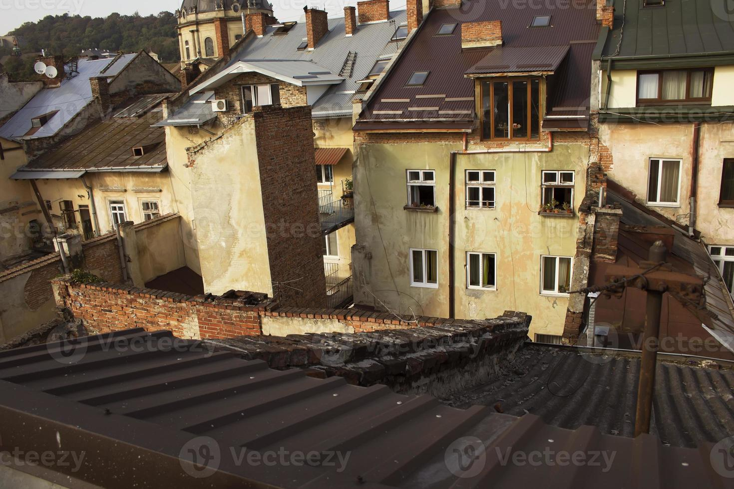 View on the residential  houses from the height photo
