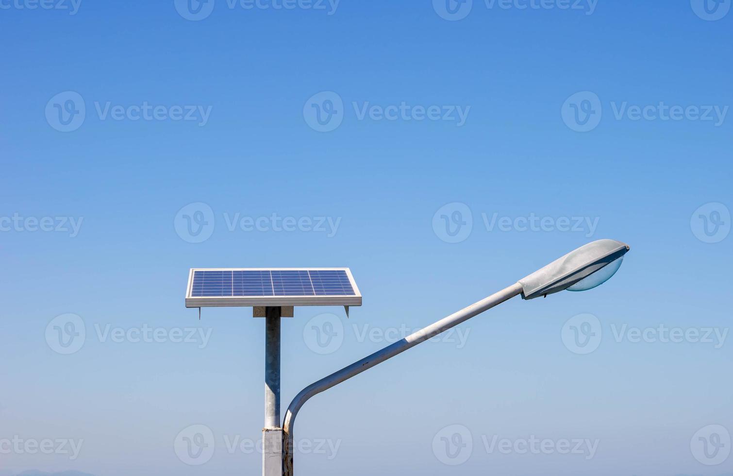 Streetlight with solar panel . photo