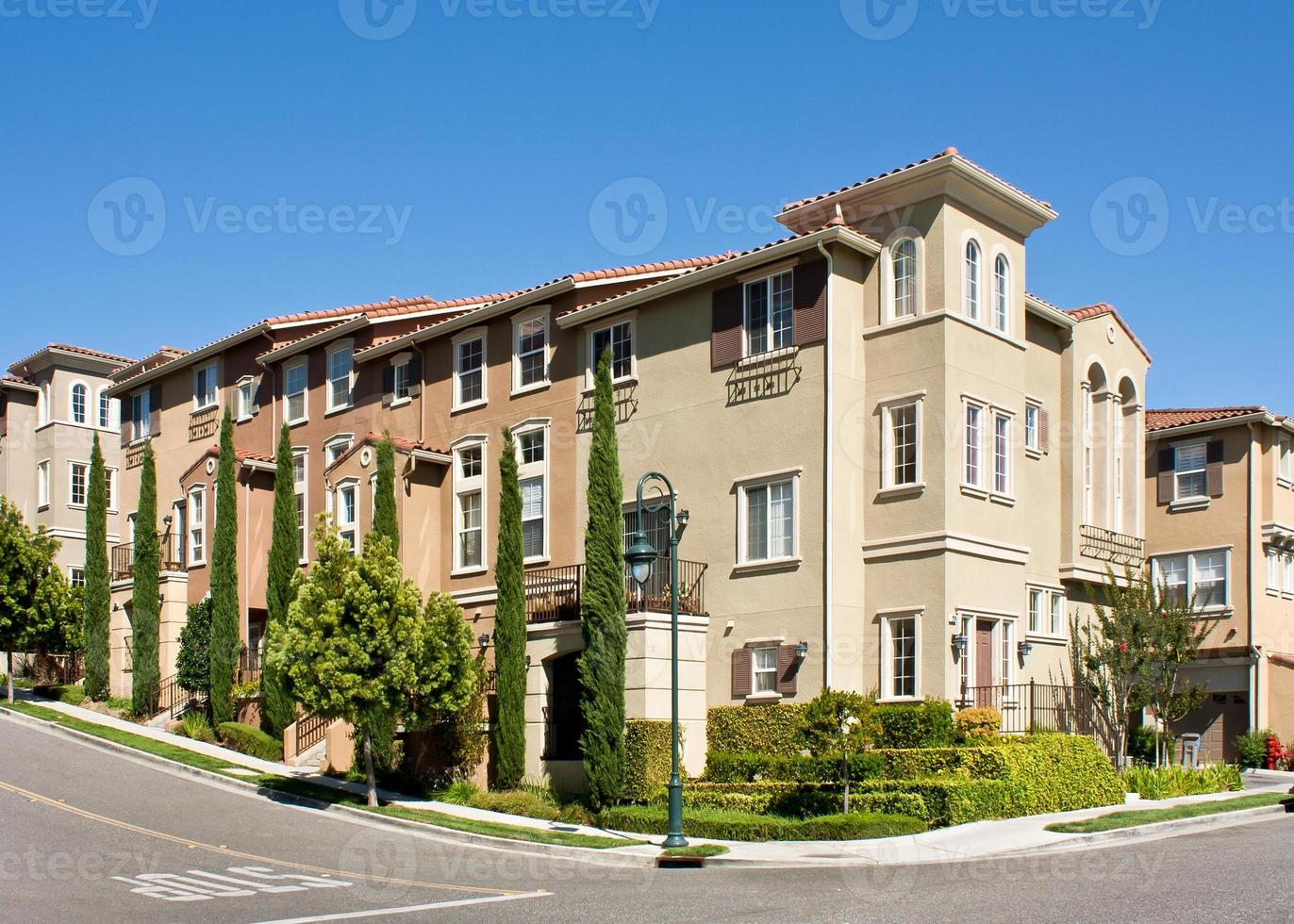 Modern town homes with street corner photo