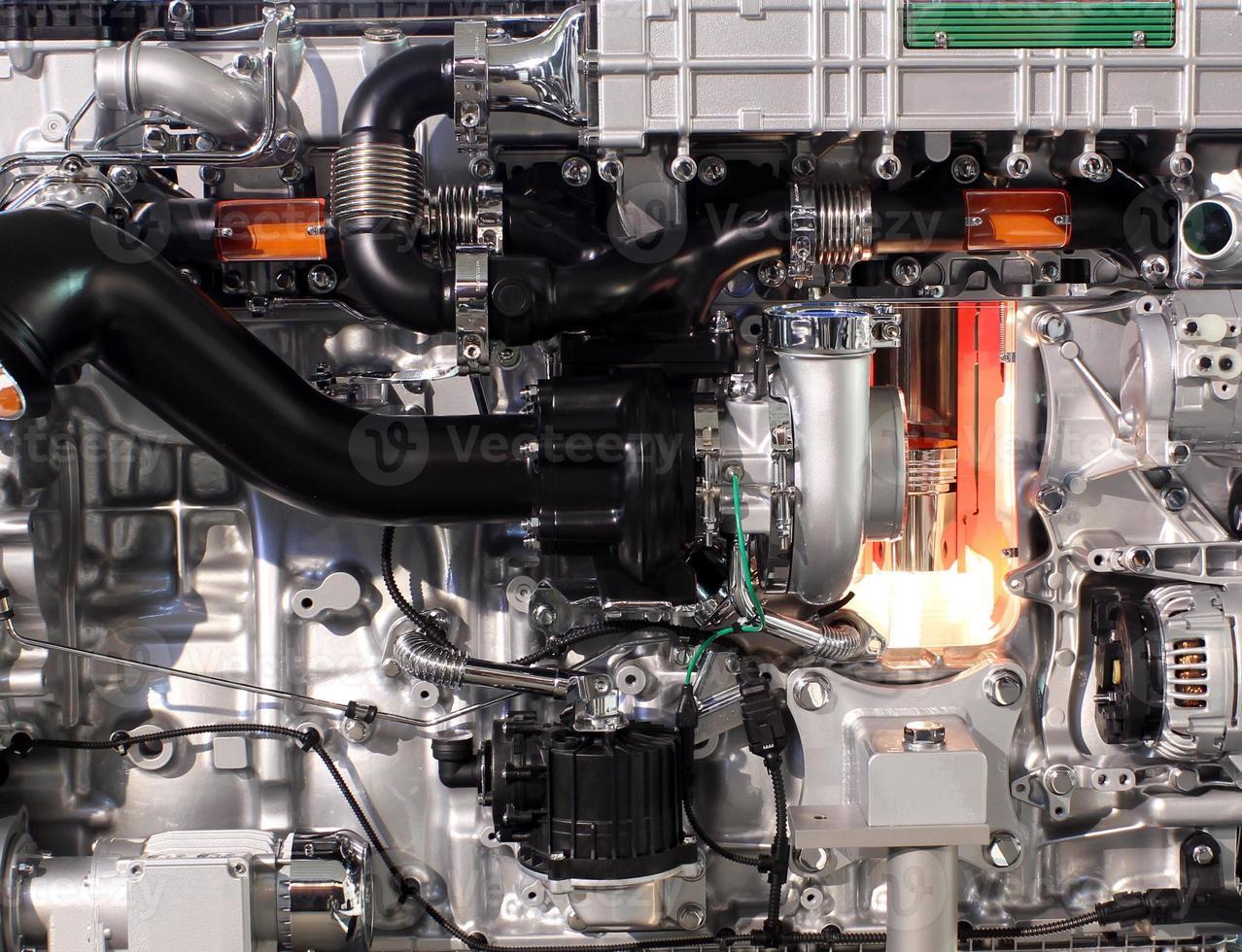 Closeup de motor diesel de camión foto