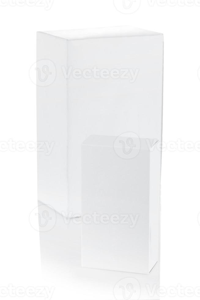 two white paper boxes photo