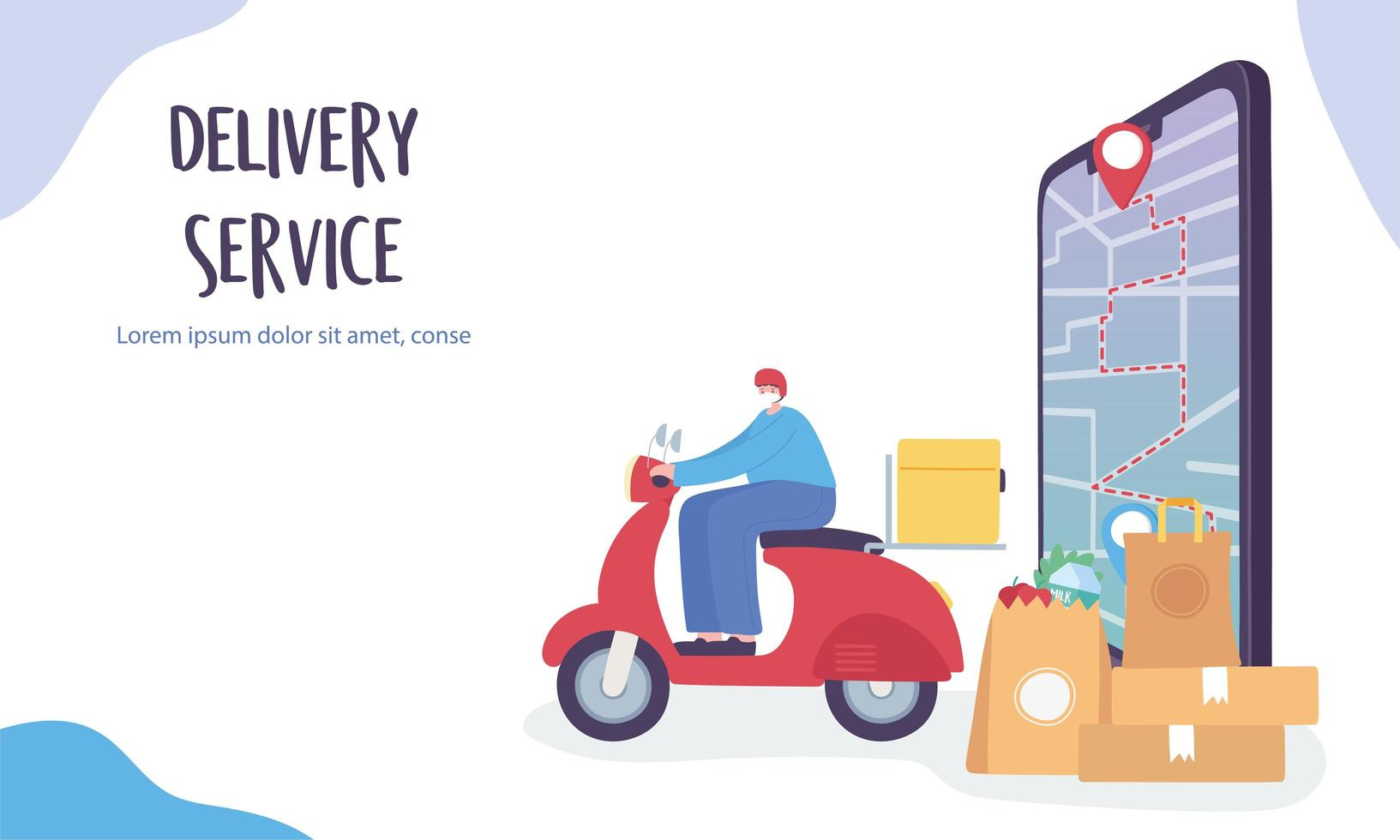 Online delivery packages going to their GPS destinations vector