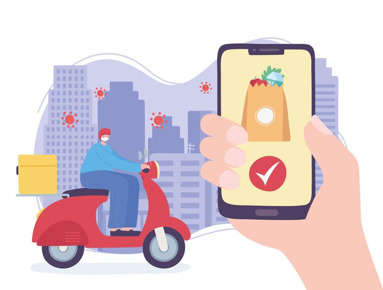 Servicio de entrega en línea con hombre en scooter y smartphone. vector