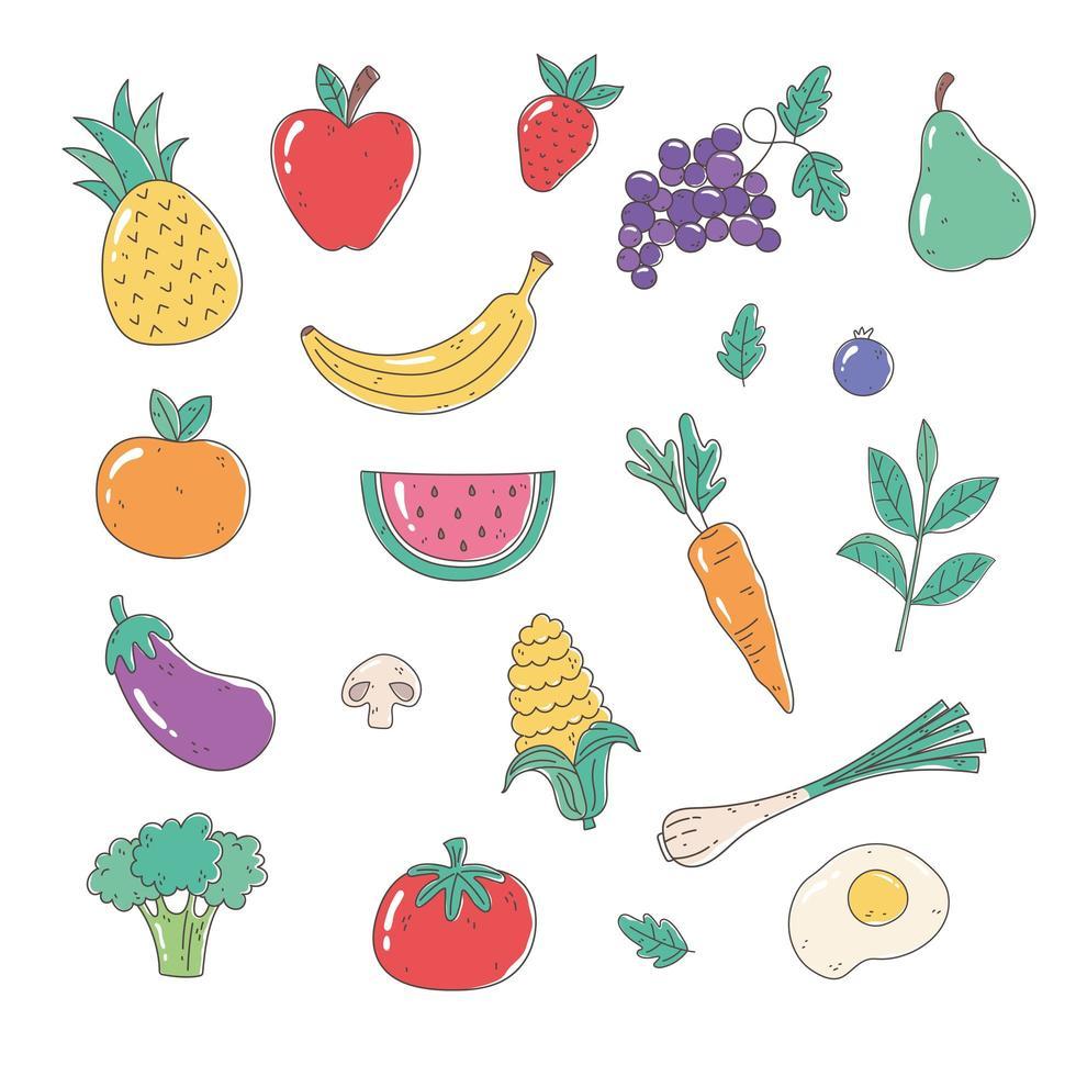 set di frutta e verdura biologica sana vettore